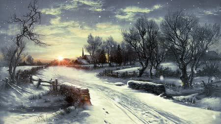 csendes : Winter Scene of a small Village with Sunset in the background and fallen snowflakes