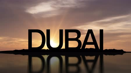 Word Dubai With Sunset Timelapse in the background
