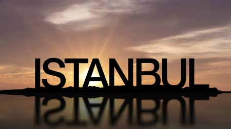isztambul : Sunset timelapse with the words Istanbul, Turkey reflecting in the water