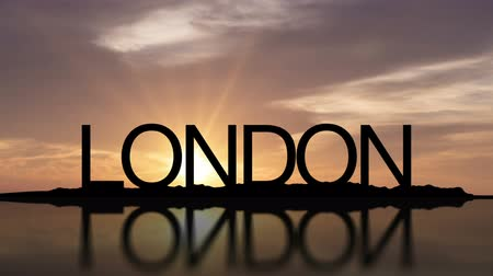 londyn : Word London, England With Sunset Timelapse in the background