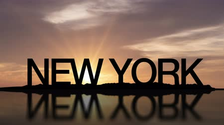 Sunset timelapse with the words New York, USA reflecting in the water
