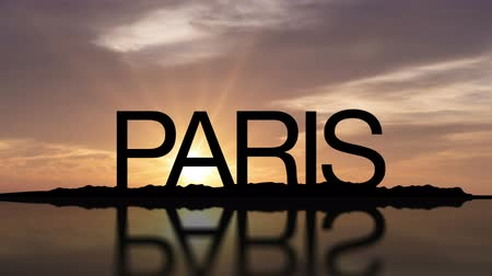 paříž : Word Paris With Sunset Timelapse in the background
