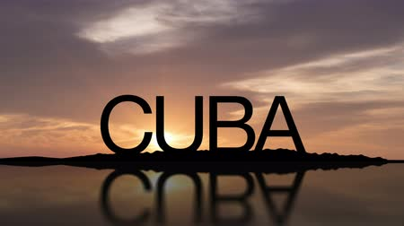 kuba : Word Cuba With Sunset Timelapse in the background