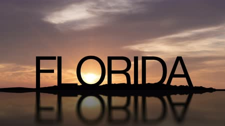 Word Florida With Sunset Timelapse in the background Wideo