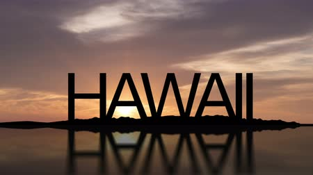 Word Hawaii With Sunset Timelapse in the background Wideo