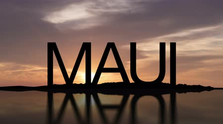 Word Maui With Sunset Timelapse in the background Wideo