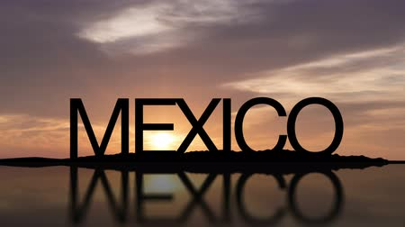 Word Mexico With Sunset Timelapse in the background Wideo