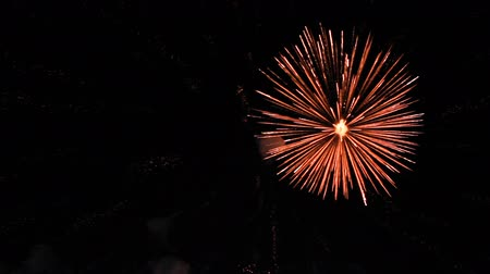 аура : Nice close up firework in dark sky for Christmas and New Year. Colorful fireworks at nighttime.