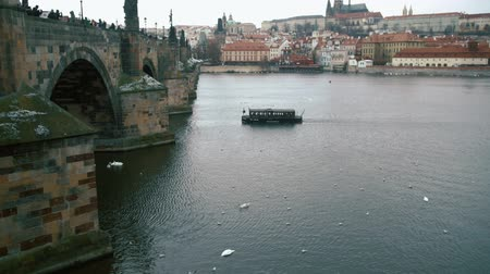 чайка : The small vessel goes down the river Vltava.