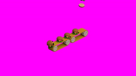carregamento : Conveyor belt loading on magenta background