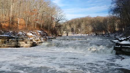 kopec : Loop features a stream, swollen with snow melt, raging over a waterfall. Shot midwinter at Lower Cataract Falls, a waterfall in Indiana.