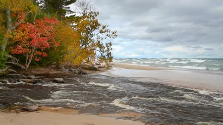 upper peninsula : The Hurricane River flows out from woods with fall colors and across the beach and into Lake Superior at Pictured Rocks National Lakeshore in the Upper Peninsula of Michigan. Stock Footage