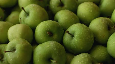 Fresh green apples full frame use as background