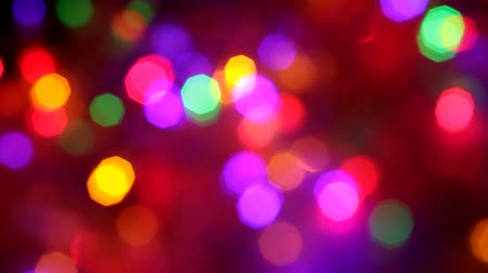 Blinking colorful garlands blurred effect, full frame Stock Footage
