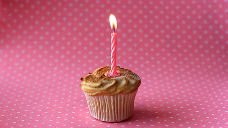 Cupcake with lighted candle for the birthday
