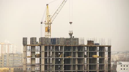 Construction of high-rise building, time lapse Wideo