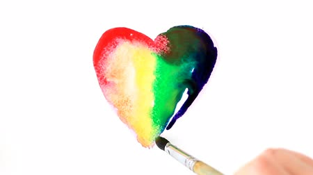rainbow heart painted in watercolor, time lapse Wideo