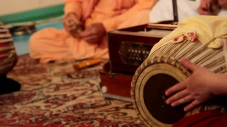 Krishna plays on Indian musical instruments