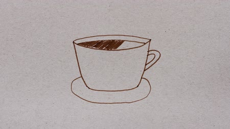 Cup of coffee painted by brown felt-tip pen on cardboard, simple drawing, stop motion animation