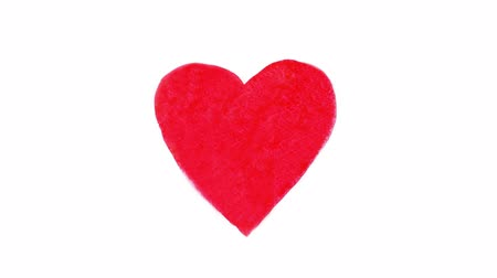 Heart painted in red watercolor which pulsates for Valentines Day, stop motion animation. Loopable elements