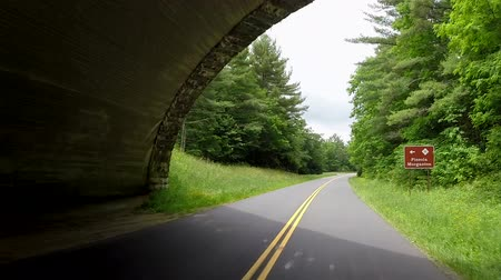 macadam : A view from a car mounted camera as it drives under one of the iconic stone bridges along the Blue Ridge Parkway. Stock Footage