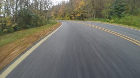 straight road : Rear view of driving on the Blue Ridge Parkway on a wet fall day