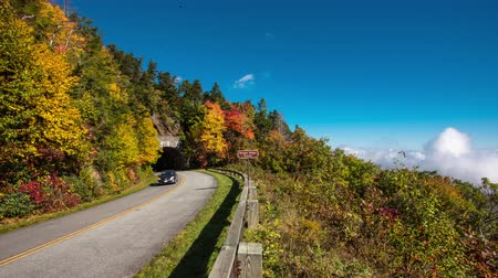 országúti : 4K TL Blue Ridge Parkway Rough Ridge Tunnel with cars in autumn Stock mozgókép