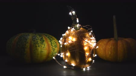 žalud : Pumpkin Wrapped In Lights with Other Pumpkins Slide Right Over Table Top