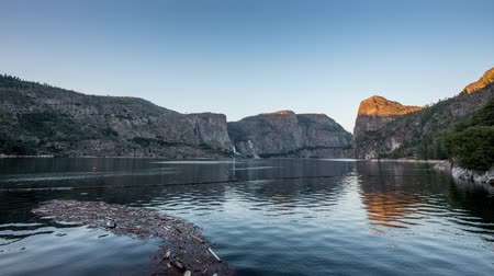 hatch : TL Yosemite Hetch Hetchy Sunset Over Dam in Valley Stock Footage