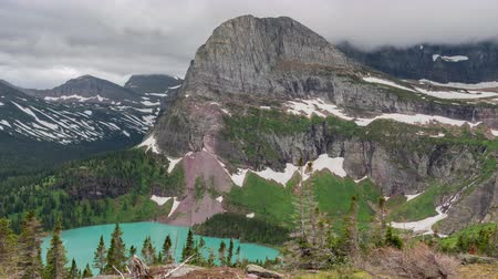 montana : TL Glacier - Grinnell Lake Overlook From Trail up to Grinnell Glacier Stock Footage