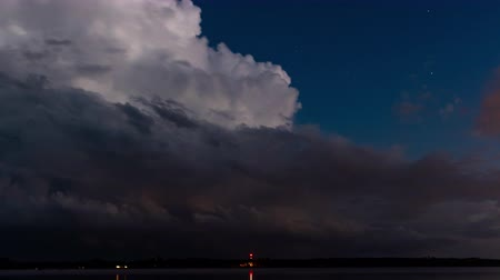 alkony : TL Voyageurs - Night Storm Moves in Over Lake with Lightening Stock mozgókép