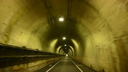 Shaky Sped Up Single Road Tunnel with eerie lights