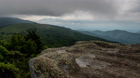 bald mountain : Jane Bald Rocks Time Lapse on Summer Afternoon with a Storm in the distance Stock Footage