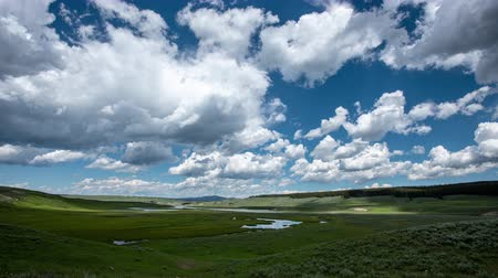 yellowstone : Looking Down Hayden Valley with clouds moving overhead
