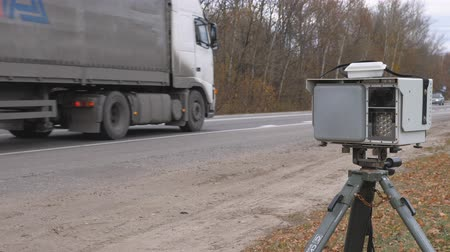 mph : Orlovskaya oblast, Russia, 08.10.2017, Police radar on the road Stock Footage