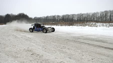 derby : 20 January 2018 Russia, Orel - autocross, buggies machines. Winter car racing on self-made cars. Stock Footage