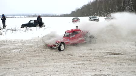 buggy car : 20 January 2018 Russia, Orel - autocross, buggies machines. Winter car racing on self-made cars. Stock Footage