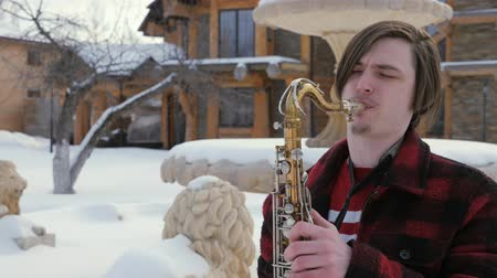 houtblokken : saxofonist speelt de saxofoon, in de winter Stockvideo