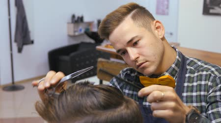 barber scissors : Hairdresser for men. Barbershop. Hairdresser with a haircut works for a hairstyle for a bearded guy. The concept of a hipster lifestyle. Hairdresser cutting hair with nails on clients head. Customer Hipster gets a haircut. a hairdresser in a plaid shirt a Stock Footage