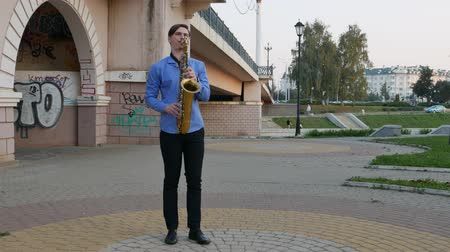 trumpet : Saxophonist plays the trumpet. City Embankment. man with a whiskered up mustache playing a musical instrument on the streets of the city. musician plays a musical instrument under the bridge. Stock Footage