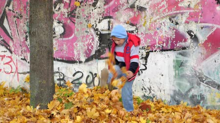 make friends : Autumn. Small children in the yellow leaves. Children play in the street with fallen leaves. Autumn grove of birches and maples. Happy kids on the street. boy walks through fallen autumn foliage. child kicks autumn leaves that fly high up. Stock Footage