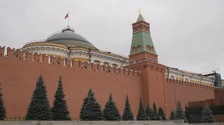 lenin : Red Square, Moscow, Russia. View of the Kremlin wall with the Senate Tower. Over the Senate Palace on the flagpole is developing the flag of the Russian Federation. Necropolis at the Kremlin wall. a memorial cemetery on Moscows Red Square near the Kremlin