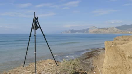 mounted : Shooting the coast on a camera mounted on a tripod. BENRO Stock Footage