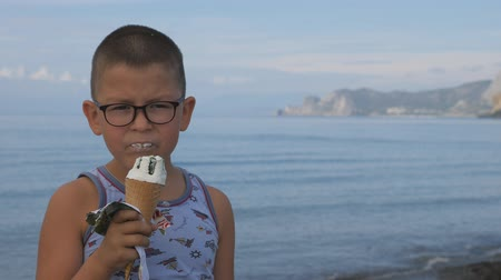 ワッフル : Child on the beach eats ice cream from a waffle cone.