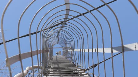 alıcı : Cell tower against the blue sky. The metal ladder leaving in the sky.