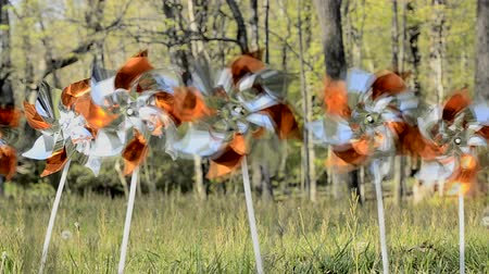 toy pinwheels simulating wind tower farm