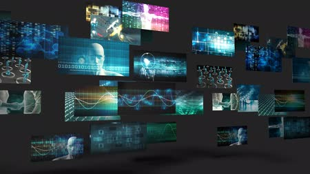 tekrarlama : Video Wall with Multiple Screens Moving Endless Loop