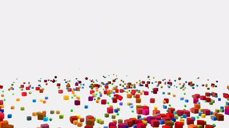 kavramsal : Colorful Falling Cubes Blocks on a White Background Stok Video