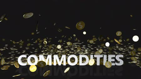 accumulating : Commodities Concept with Gold Coins Falling From the Sky