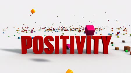 farkında olma : Positivity Concept on White Background with Colorful Blocks